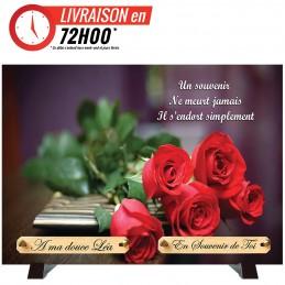 """Plaque Funéraire """"Rose pour..."""